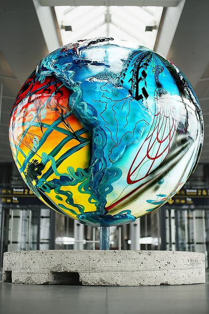 Globe In The Metro Station At Kastrup Airport