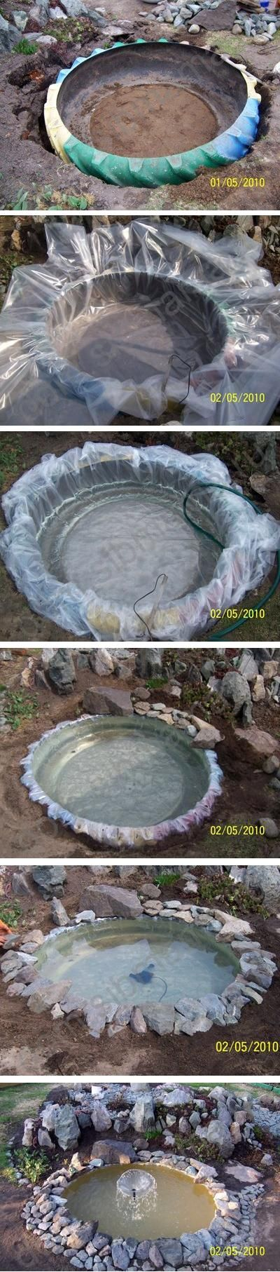 Wow, this is awesome, I have to do that someday :) Use a tractor tire to make a small pond or water hole in you garden. How cool is this. This site has a ton of stuff that can be made with tires..                                                                                                                                                      More