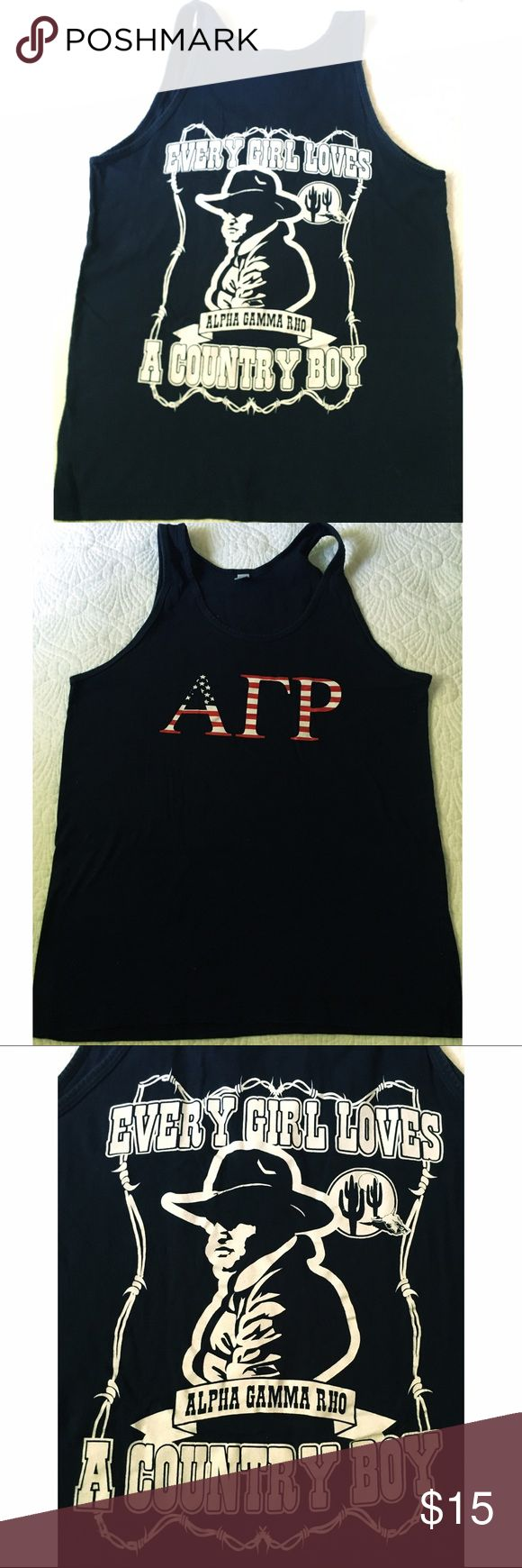 "AGR Tank Top Greek fraternity tshirt. Alpha gamma rho tank. Cute American flag letters on the front, with saying ""every girl loves a country boy"" on the back. American apparel tank top, size medium men sizing. Fraternity collection Tops Tank Tops"