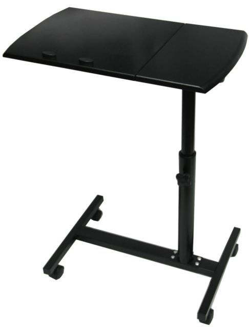 NEW BLACK WOODEN HEIGHT ADJUSTABLE LAPTOP TABLE STAND ON CASTORS