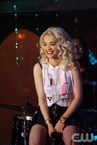 """90210 -- """"Misery Loves Company"""" -- Image: NO510a_0275 – Pictured: -- Rita Ora as herself -- Photo: Scott Humbert/The CW -- ©2012 The CW Network. All Rights Reserved"""