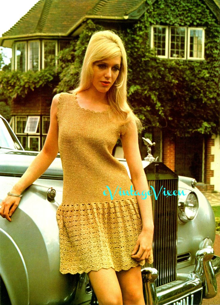 London Lady in Gold Instant Download 1970s MOD Mini Dress Vintage Crochet Pattern Clubbing Dress Crochet Pattern Sexy Crochet Festival Dress by VintageBeso on Etsy