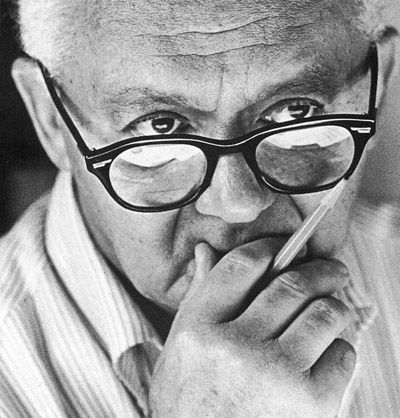 """Paul Rand - """"Without aesthetic, design is either the humdrum repetition of familiar clichés or a wild scramble  for novelty. Without the aesthetic, the computer is but a mindless speed machine, producing  effects without substance. Form without relevant content, or content without meaningful form."""""""