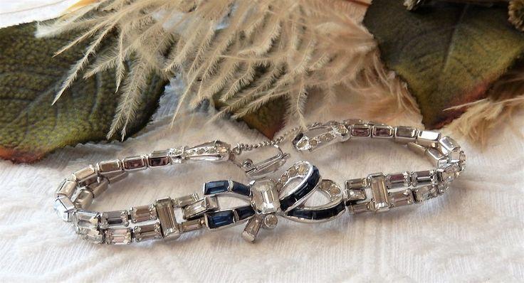 Vintage Mazer Brothers Silver Sapphire Blue Rhinestone Bow Bracelet w/Safety