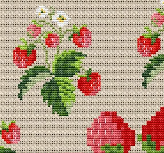Strawberry Tablecloth Centerpiece Counted Cross Stitch Pattern Cross Stitch Embroidery Counted Cross Stitch Patterns Cross Stitch Patterns