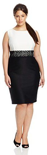 Plus Size Lace Waist Sheath Dress
