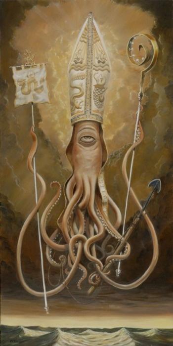Blessed Saint Architeuthis · Skot OlsenSkot Olsen, Saint Architeuthi, Blessed Saint, Art, Hunting, Canvas, Patron Saint, Sailors, Octopuses