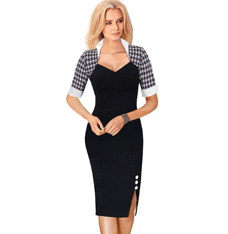 Women's Polka Dot Patchwork Square Neck Sheath Pencil Dress | 9th Wave