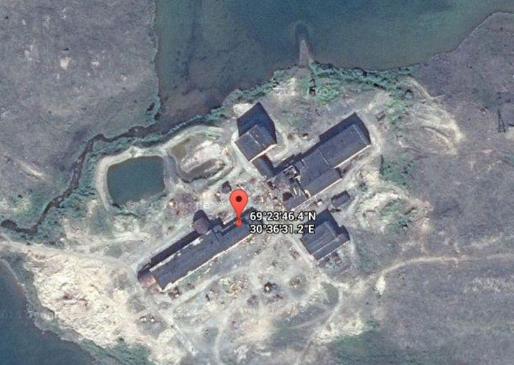 Screenshot of the exact location of the Kola Superdeep on the satellite