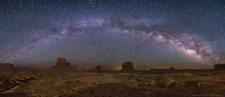 The Milky Way Over Monument Valley   Only at Monument Valley USA would you see a picturesque foreground that includes these iconic rock peaks called buttes. Buttes are composed of hard rock left behind after water has eroded away the surrounding soft rock. In the above image taken about two months ago, the closest butte on the left and the butte to its right are known as the Mittens, while Merrick Butte can be seen just further to the right.