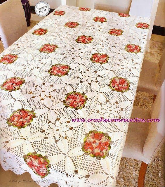 toalha de mesa square floral em croche com receita