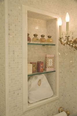Built in bathroom shelves.