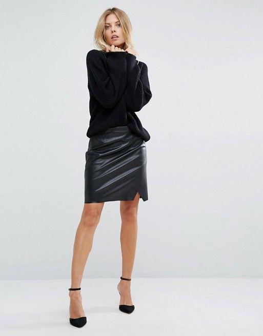 Boss Orange Faux Leather Short Black Skirt