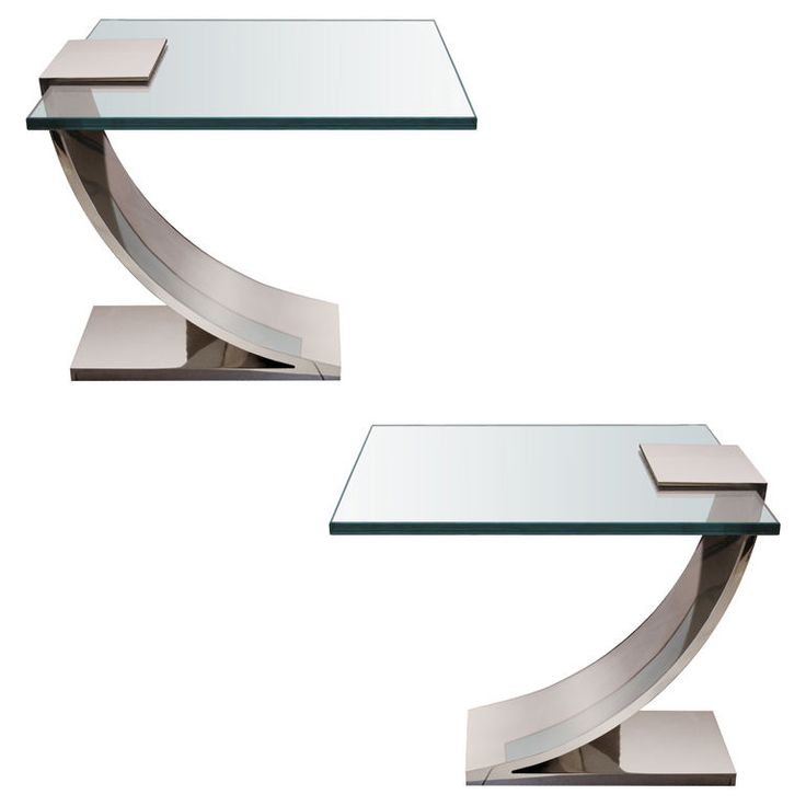 Pair Of Polished Nickel And Glass Side Tables. Glass Side TablesEnd  TablesModern ...