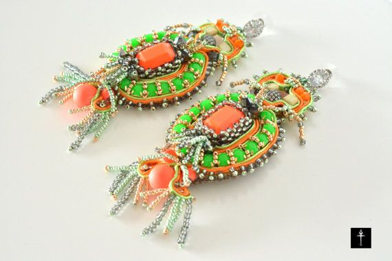 Chanderlier Soutache Statement Earrings with Neon by BYTWINS