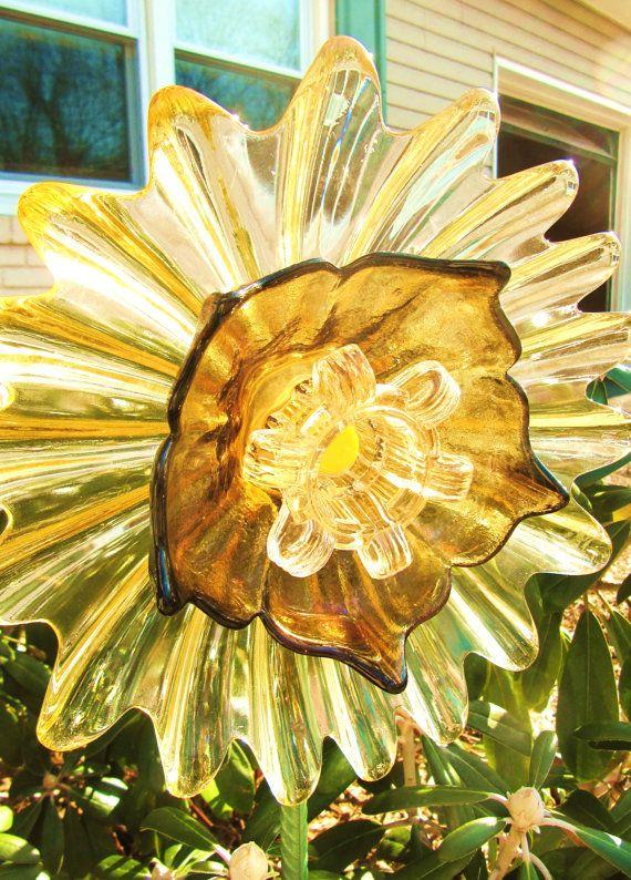garden art. vintage glass flower plate,upcycled glass art, glass plate flowers, purple,gold,pink, vintage Fostoria glass, garden gift,