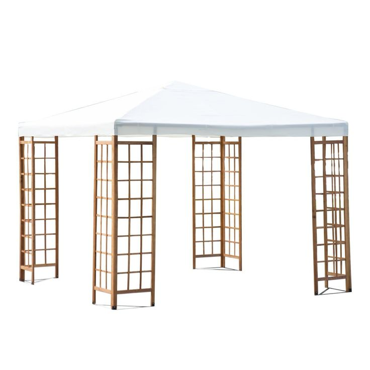 Outsunny 3 x 3 m Patio Garden Wooden Framed Gazebo Marquee Sun Shade Party Tent Canopy Shelter Pavilion without Table - Beige *** For more information, visit image link.