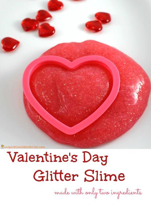 2 Ingredient Glitter Slime for Valentine's Day