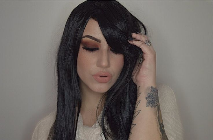 The beautiful @imogenhearts In Lush style: The Dark  The Dark is available now from Lushwigs.com #lushwigsthedark #lushwigs #lushhair #wigaddict #wig #wigs #blackhair #goth #alternativehair #makeup #halloween #beautiful