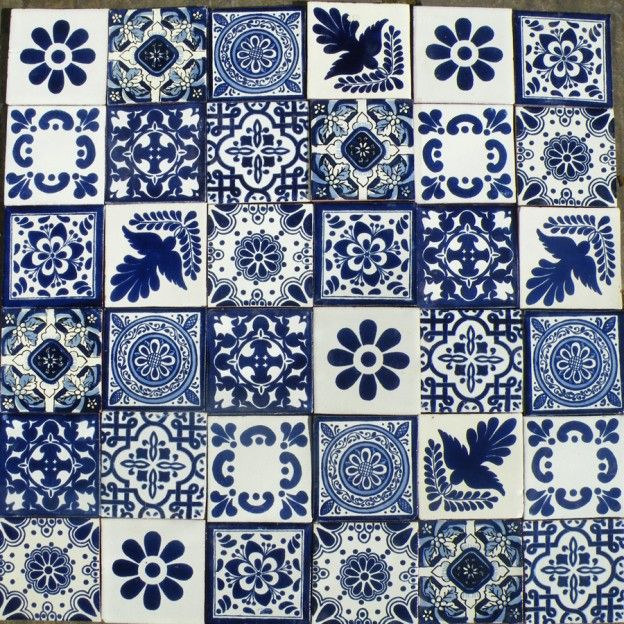 A patchwork of predominately blue tiles