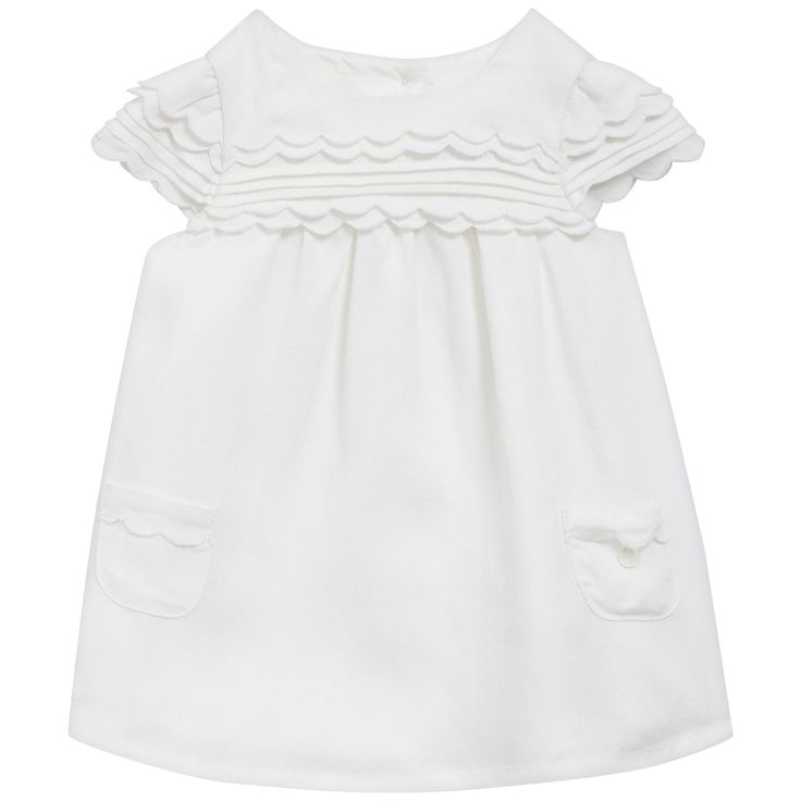 White frill dress #outfit #FW15 #fall #winter #kidsfashion #ceremony #white #frill #dress