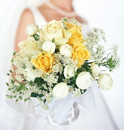 Yellow and White Rose and Peony Wedding Bouquet – Picture Gallery of Beautiful Bridal Bouquets