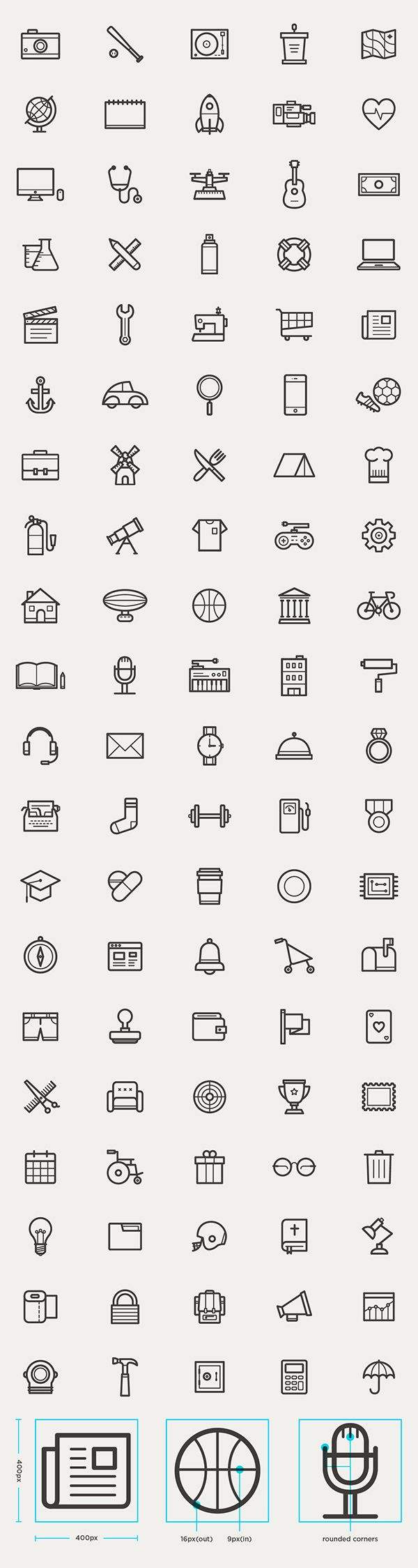 Free Outline Icons Set (95 Icons)