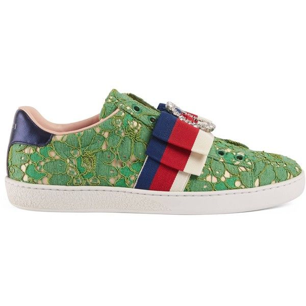 Gucci Ace Lace Sneaker ($715) ❤ liked