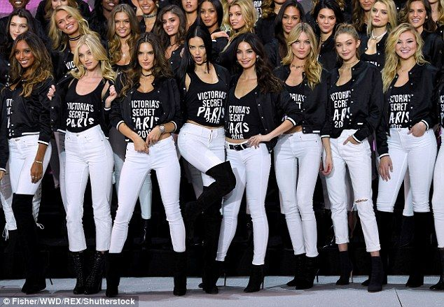 Photo call: Bella joins older sister Gigi Hadid, 21, in the VS Fashion Show along with Alessandra Ambrosio, Joan Smalls, Sara Sampaio, Elsa Hosk, Lily Aldridge, Lily Donaldson and others