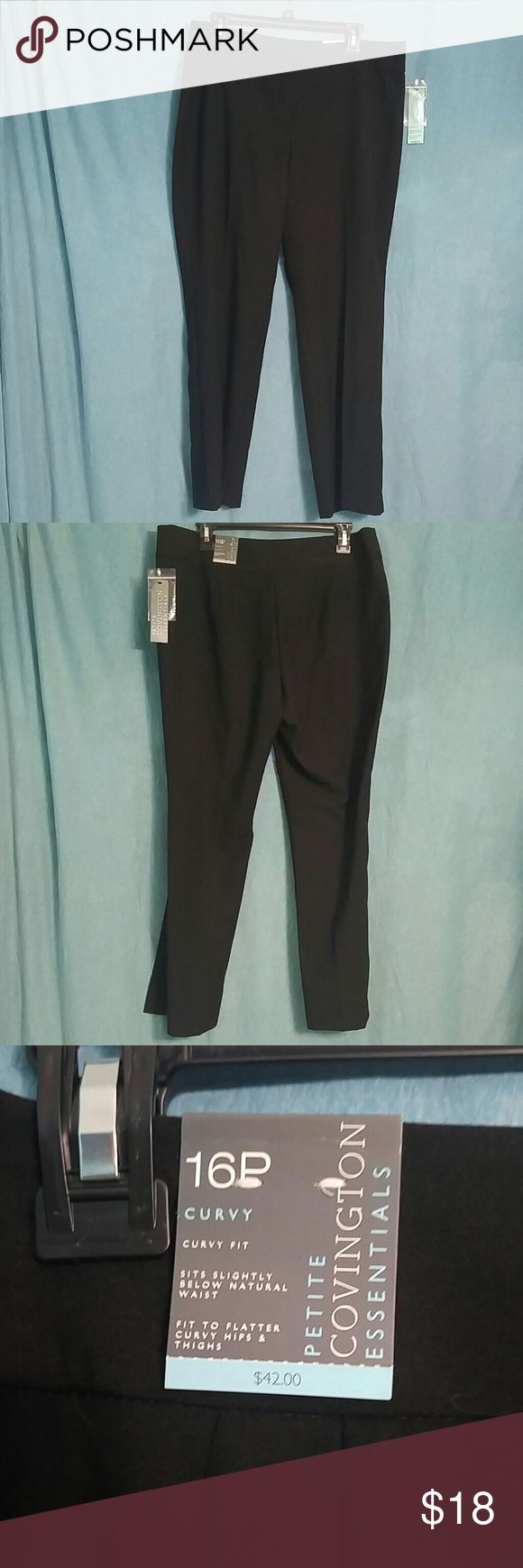 Black lightweight dress pants size 16 p Covington brand petite size 16 lightweight cotton black dress pants right for work out shopping or a night at dinner with a lovely blouse sweater lightweight enough to wear through spring and summer Covington Pants Trousers