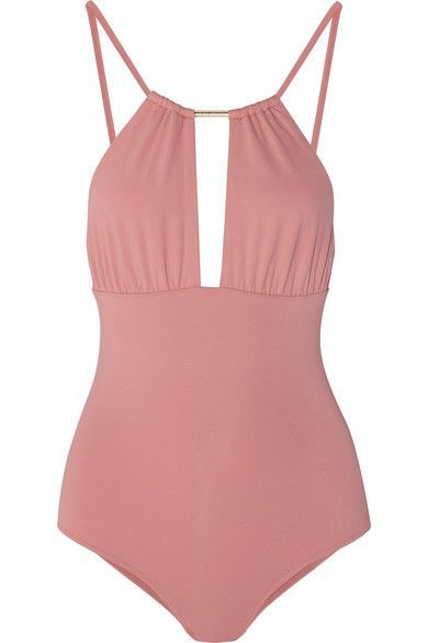 Melissa Odabash's 'Phuket' swimsuit has a cutout front embellished with designer-stamped gold hardware. Crafted from two layers of sculpting stretch fabric, this feminine antique-rose design is finished with adjustable straps for a customized fit. Wear it poolside with sunglasses, adding cut-off denim shorts when heading to local markets.