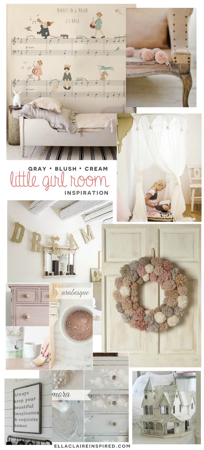 Gray, Blush, Cream little girl room mood board with sources. Beautiful color combination!