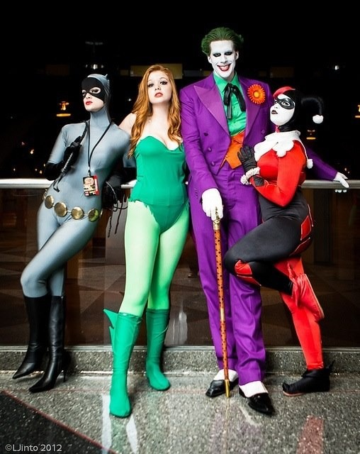 catwoman poison ivy joker and harley quinn cosplay - The Joker And Harley Quinn Halloween Costumes