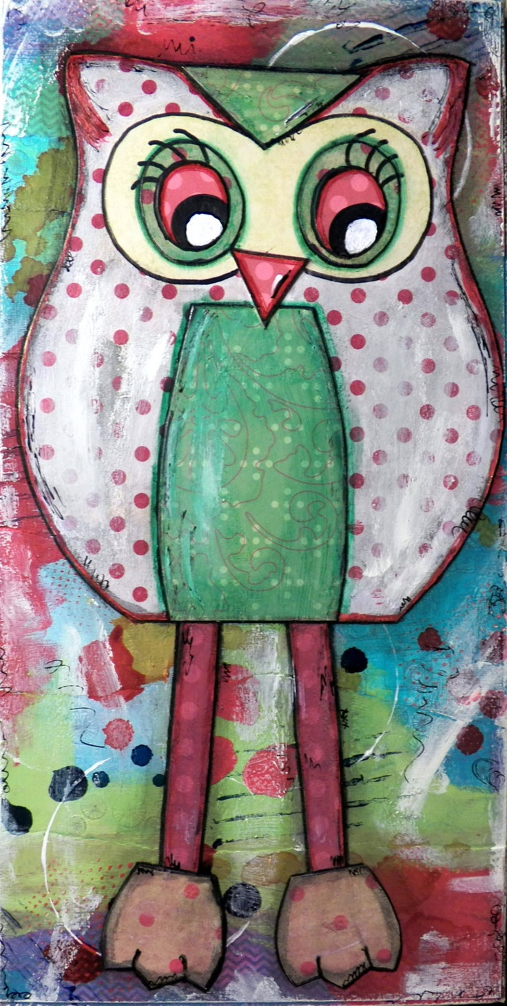 Original Mixed Media on Canvas - Painting Home Decor Artwork - Folk Art Owl - Polly Red Owl. $50.00, via Etsy.