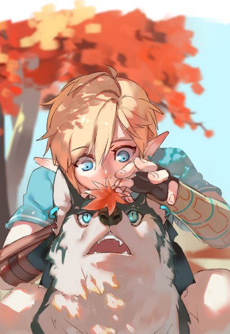Awww cute :3 Legend of Zelda Breath of the Wild Link and wolf link