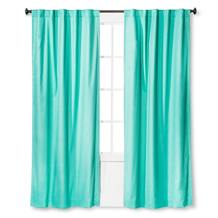 "Twill Light Blocking Curtain Panel Aqua (Blue) (42""x84"") - Pillowfort"