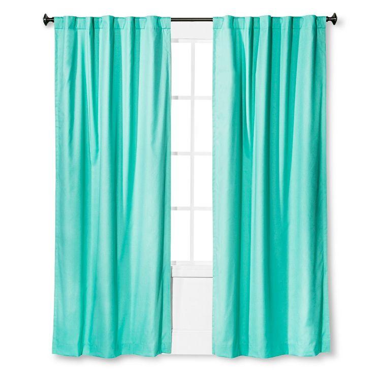 """Twill Light Blocking Curtain Panel Aqua (Blue) (42""""x84"""") - Pillowfort"""