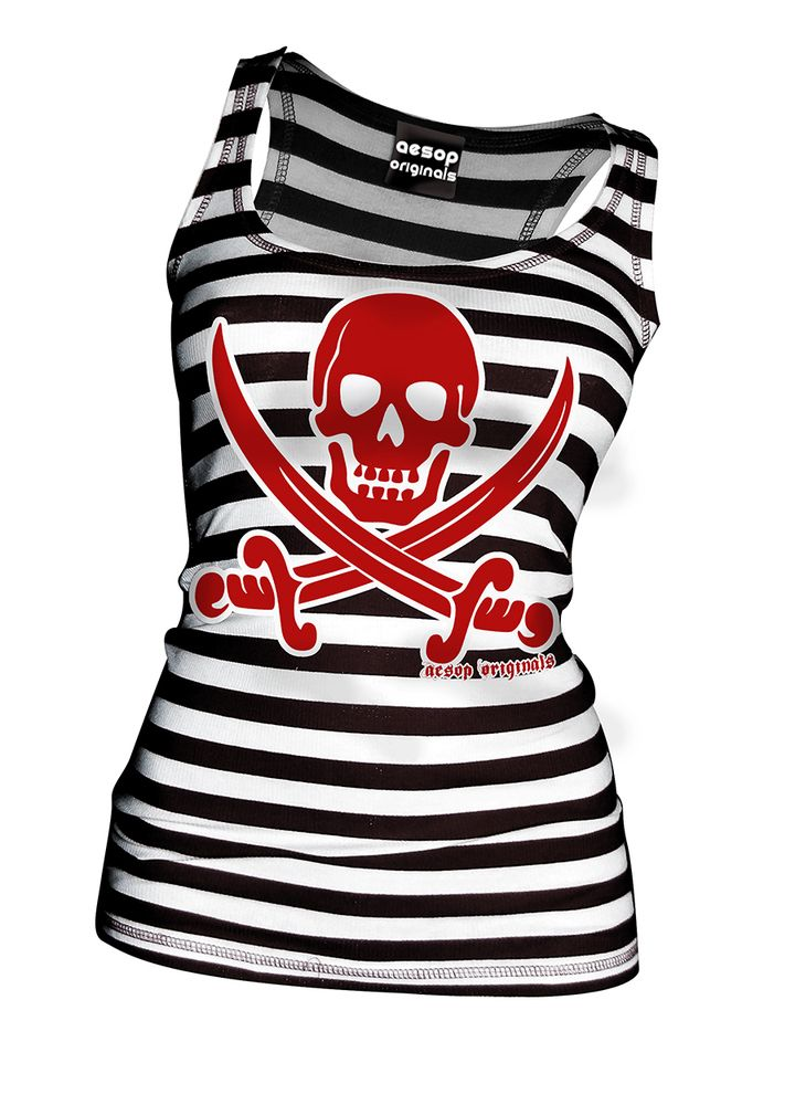Whether on the high seas or the sandy beaches you'll look hot in this Striped Jolly Roger Tank Top! By the way, don't forget the rum!  This shirt is available as a tank top @ www.AesopOriginals.com  Aesop Originals brings you the hottest designs from the Streets. We love Tattoos, Skateboarding, Hip Hop, Punk Rock and any extreme sport or rockin' beat for that matter.   Join us as the generation who revolutionized the streets!