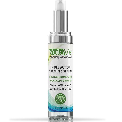 Triple Action Vitamin C Serum + Hyaluronic Acid For Your Face – Contains THREE Forms of Vitamin C For Better Results – Pure, Undiluted, & NO FILLERS – Vitamin C+ Hyaluronic Acid Serum Will Leave Your Skin Radiant & More Youthful Looking By Neutralizing Free Radicals – Highest Quality Serum Available – 1 oz