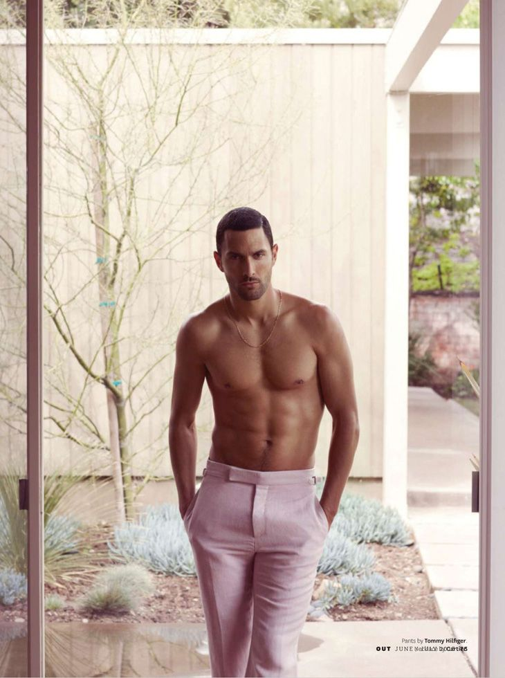 Supermodel Noah Mills photographed for OUT Magazine by Bruno Staub with elegant styling by Grant Woolhead.
