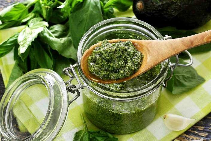 Paleo Pesto-Avocado Sauce- fresh basil, pinenuts, avocado, garlic, lemon juice