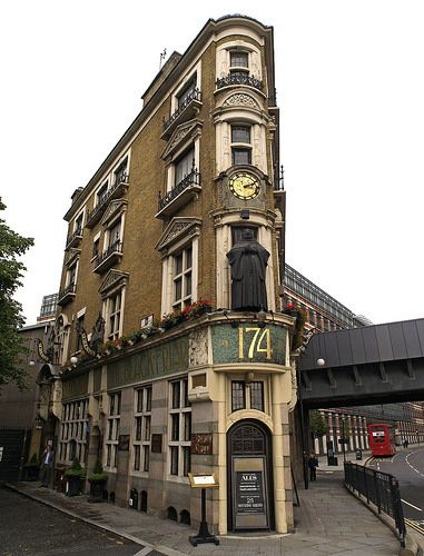 The Black Friar, London, England. A traditional pub with Henry Poole's Art Nouveau reliefs reflecting the Friary that once stood there.