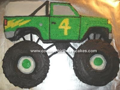 Monster Truck: I made this monster truck cake for my son's fourth birthday.  I thought I was going to have to carve out the entire truck, but then saw that Wilton made