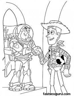 Printable coloring pages Toy story 3 Characters Woody and Buzz - Printable Coloring Pages For Kids