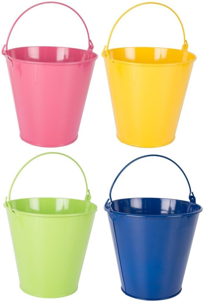 Bright Coloured Metal Plant Pots With Handles Small Round Tin Buckets Planters Cheerful Decorated Flower Pots Green Flower Pots Bucket Planters