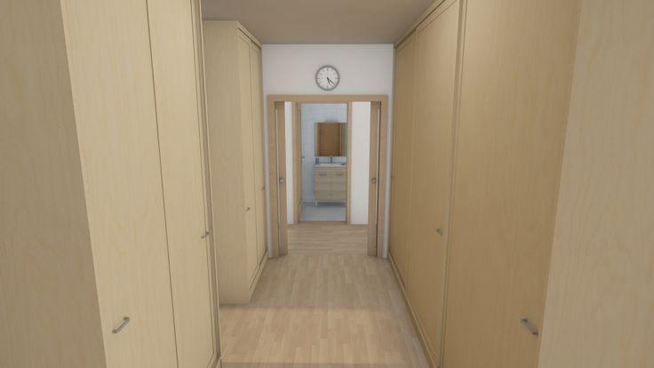 Modern, 5 szobás, 229 m2-es földszintes családi ház mintaterve, alaprajzzal Földszintes ház révén, sok belső helyiség van. Ezt oldottuk fel a gardrób helyiség és az előszoba egybe integrálásával. Innen nyílik a közös fürdőszoba is.