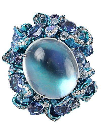 Rosamaria G Frangini | High Blue Jewellery | SB | Arunashi Moonstone Ring