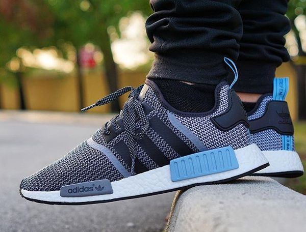 best sneakers 5e054 1bd81 chaussure Adidas Originals NMD R1 Knit Tonal Core Black Clear Blue (1)    MEN S SHOES   Pinterest   Adidas, Adidas originals and Adidas nmd r1