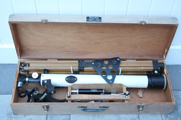 Vintage 1960's Monolux 60mm Refracting Telescope Beige & Black Made in Japan Wood Tripod Dovetailed Wood Carrying Case by BrooklynBornFinds on Etsy