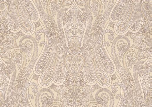 Mulberry Paisley (FG065J102) - Mulberry Home Wallpapers - A glamorous 'Heirloom Paisley' inspired by a magnificent Indian shawl. showing in Ivory - other colour ways available. Please request a sample for true colour match.